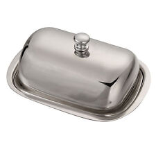 Silver Color Vintage Retro Stainless Steel Butter Dish & Lid