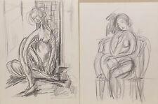 """2 Bilder"""" Frauen Studien Akt """"Blei. sign..zuschreibung Calix  - Paris France"""