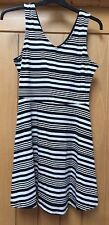LADIES BLACK AND WHITE STRIPED SKATER DRESS SIZE 10