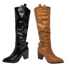 44/45/46 Women Ladies Outdoor Punk Chunky Mid Heel Pointy Toe Knee High Boots D