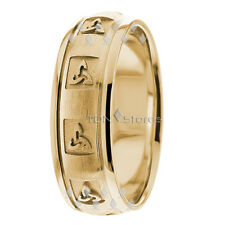 14K Solid Gold Mens Womens Celtic Wedding Bands Trinity Knot Wedding Band Rings