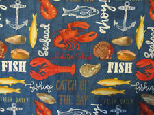 Seafood Crawfish Fish Crabs Lobster Shell Oysters Snack Food Cotton Fabric BTHY