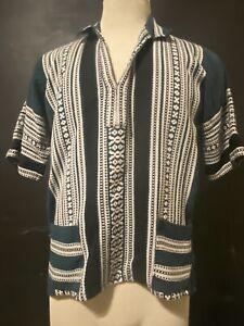 VTG M. De Souras Greek Guayabera Green and White Woven Cotton Shirt, Size S/M