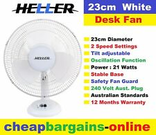 23cm DESK FAN HELLER WHITE PEDESTAL TABLE FAN 240 Volt 2 SPEED TILT OSCILLATING