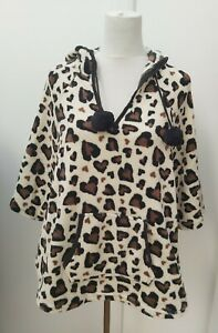 Primark One Size Lounge Cape Poncho Hoodie Top Black Brown Heart Animal Print