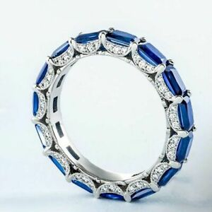 1.24Ct Blue Sapphire Baguette Diamond Matching Wedding Band 925 Sterling Silver