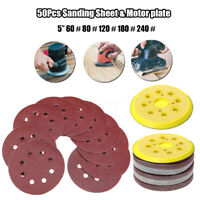"50 Pcs 125mm 5"" 60-240 GRIT Sandpaper Sanding Sheet 8 Hole Pads W/ Motor Plat"