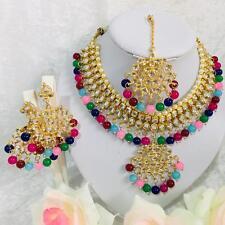 Bollywood Ethnic Bridal Indian Stone  Women Jewelery Necklace Earrings Tikka Set
