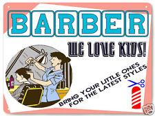BARBER SHOP METAL SIGN child hair cut FEMALE VERSION style RETRO PLAQUE 017