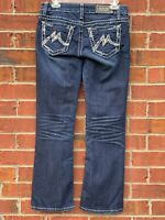 Miss Me Ladies Womens Size 26 Mid Rise Embellished Bling Blue Jeans Boot Cut