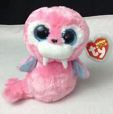 "New w/ Tags 6"" Ty Beanie Babies Boos Tusk the Pink Walrus Glitter Eyes"