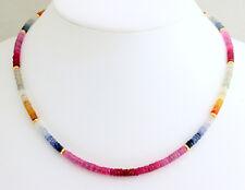 Zafiro Cadena de Piedra Preciosa Collar Multicolor 1A Calidad 925 Plata
