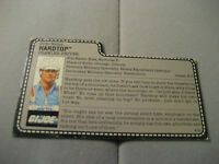 Vintage GI Joe Hardtop File Card Red Back 1987