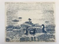 Karl Adser (1912-1995) Danimarca Nordre Rønner Uccello Am Spiaggia di Pietra