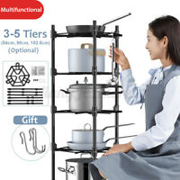 3/4/5 Tiers Storage Shelf Rack Pan Stand Pot Holder Kitchen Bath Stainless Steel