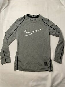 Nike Pro Dri Fit Long Sleeve Shirt Size Youth S Gray w/White Swoosh Fitted