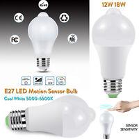 PIR Infrared Motion Sensor LED Bulb Light E27 12W 18W 110V 220V Cool White SS742