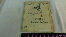 1971 CURRY YELLOW JACKETS OFFICIAL 25 CENT PROGRAM VS CORDOVA HIGH SCHOOL