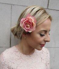 Nude Blush Pink Rose Flower Hair Clip Fascinator Bridesmaid Races Wedding 5192