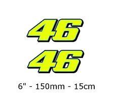 "2 x Valentino Rossi Sticker FLUORESCENT YELLOW 46 (2013) vinyl 6"" 15cm 150mm"