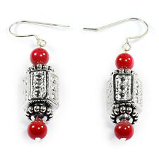 Red Crystal 925 Sterling Silver Earrings Handcrafted Bead Jewellery UK Gift Idea