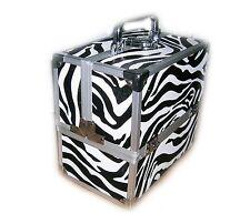 A Small Locking Cosmetic Beauty Vanity Case Make up Box Nail Art Zebra Pattern