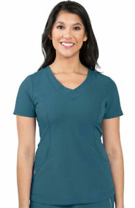 "Healing Hands Style 2264 V-Neck Detailed Scrub Top in ""Caribbean"", Size XS"