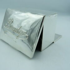 More details for loaded solid silver bridge box - playing card game - antique fall front design