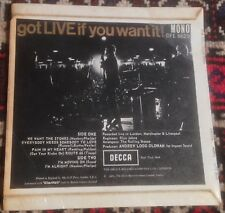 THE ROLLING STONES got LIVE if you want it 1965 ORIG UK UNBOXED DECCA LOGO EP