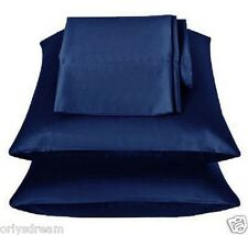 "KING - TWO SOFT ""SILKY"" SATIN / SATEEN PILLOW CASE / COVER - NAVY BLUE (1 PAIR)"