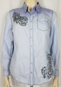 Style & Co. blue ombre pearl snap paisley button-up shirt blouse ladies 8 Petite