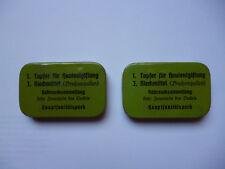 2 leere Blechdosen 2.WK Wehrmacht Hautentgiftung Riechmittel Hauptsanitätspark