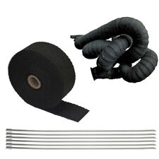 2'' x 10m Exhaust Manifold Header Wrap Black Heat Tape + 6 Stainless Steel Clamp