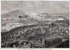 ASSEDIO DI GAETA:Trincee Piemontesi a Montesecco.Grande Veduta.Risorgimento.1860
