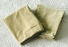 Pottery Barn Pair Tan Velvet Standard Pillow Shams Button Closure ~ EUC
