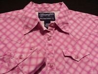 Wrangler Womens Small Long Sleeve Pearl Snap Pink Plaid Check Western Shirt