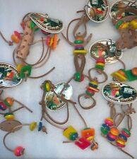 7 PCS Wrangler Dangler Leather Bead Hanging Bird Cage Toys Medium Large Foraging