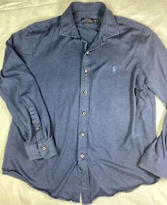 Polo Ralph Lauren Jersey Knit Oxford Shirt Blue Navy XXL 2XL Button Front Logo