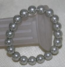 "12mm Light Gray south sea shell pearl round beads bracelets 7.5"" AAA"