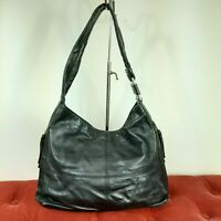 TIGNANELLO Black Pebble Leather Shoulder Handbag Tote Satchel Purse EUC Medium