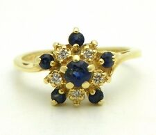 SAPPHIRE DIAMOND CLUSTER RING SOLID 14 k GOLD 3.1 g SIZE 6.5