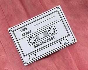 50 Wedding Song Request Cards - Cassette Shape (A7 Size)