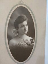 FANCY OVAL CABINET CARD ~Lady with Locket and Bow~ Walker Detroit Michigan