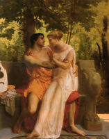 Nice Oil painting Bouguereau - The Idyll Young romantic lovers in landscape 36""