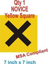 Novice Yellow Square MSA Compliant  Motorsport  Race Vinyl Sticker FLAT RATE P&P