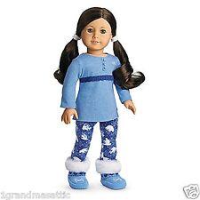 New American Girl Polar Bear Pajamas PJ's Slippers + Charm NIB NRFB NO DOLL