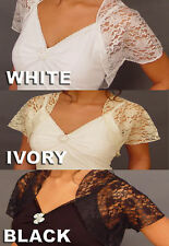Short Sleeve Lace Bridal Wedding Bolero Jacket Wrap
