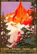 Arte cartel de viaje 1924 Chamonix Mont Blanc coche Tours