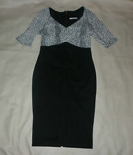 George Black with White Print Dress Size 10