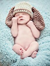 Handmade crochet puppy dog hat with ears. Photo photography prop. Newborn.